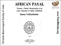AFRICAN PAYAL By Thomas Vellilamthadam
